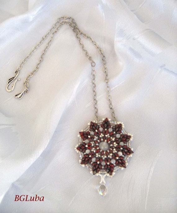 Pendant Superduo bead, Beadwork,Wine, White,Eye beads and chain,Handmade