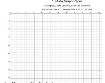Marvelous Aida 10 Cross Stitch Graph Paper, Grid Template.