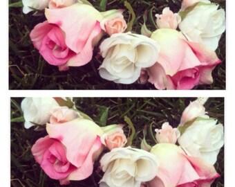 Pink peach rose flower crown