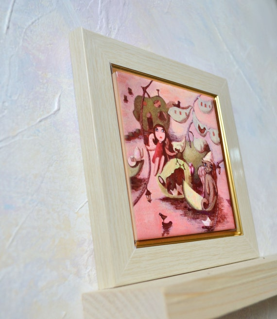 Hand painted ceramic tile wall art whimsical angel by - Painting ceramic tile walls ...