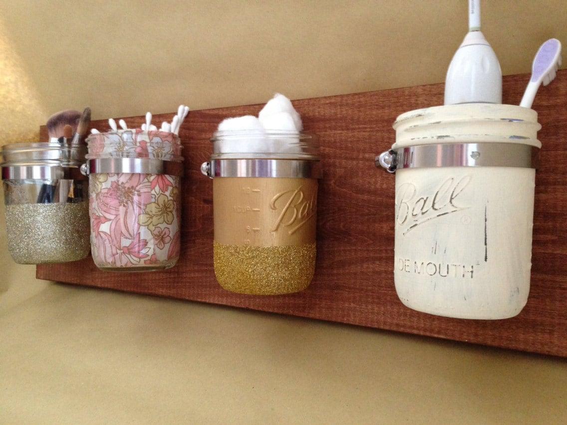 Mason jar wall storage organizer for Bathroom jar ideas