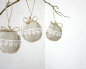 Linen and lace Holiday ornaments Christmas, shabby chic eco friendly - set of 3
