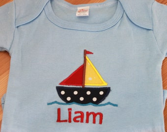 Personalized Applique Baby Onepiece Bodysuit - Sailboat