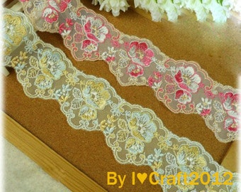 Tulle Embroidered Lace Trim Rose Embroidered Scalloped Lace Trim 2.24 Inches Wide 2 Yards Costume Headware Supplies