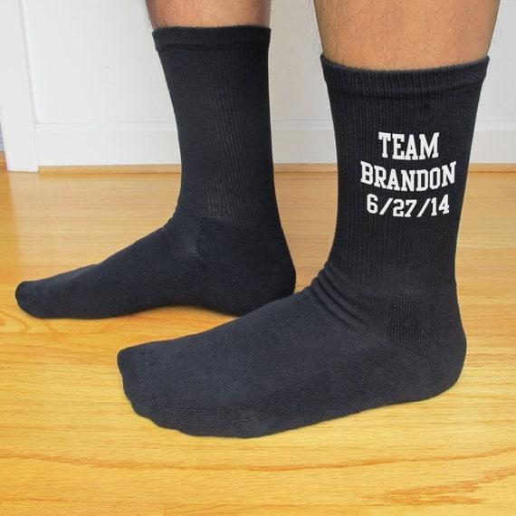 Mens Black Wedding Socks Personalized Custom By
