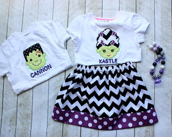 Sibling Halloween outfit Frankenstien Halloween outfit Matching brother and sister Chevron Halloween skirt set girl Hallwoeen outfit boy