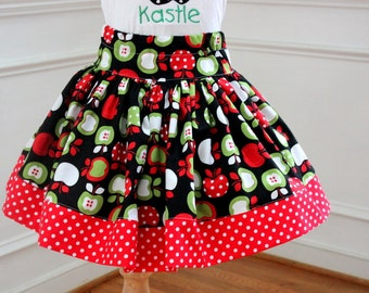 apple skirt red apple girl clothing circus fall skirt for girls skirt girl apple fabric girl apple dress birthday