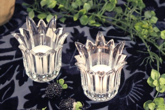 Mikasa candle votive pair of clear lead crystal by