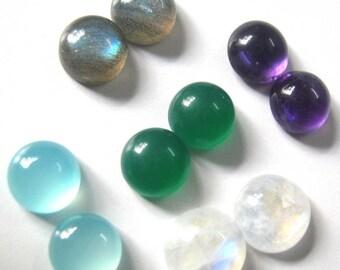 Lot of Mix Gemstone Labradorite,Green Onyx ,Amethyst,Aqua Chalcedony,Rainbow Moonstone 7x7 mm Round Cabochons