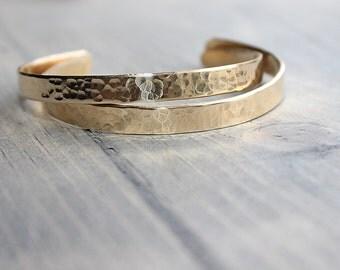 Set of Hammered Cuff Brass Bracelet