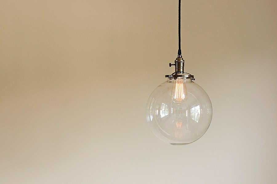 Glass Globe Pendant Light Fixture 10 Hand Blown Glass