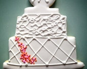 "2 Dozen GLUTEN FREE - ""Happy 50th"" Monogram Wedding Cake Themed Sugar Cookies"