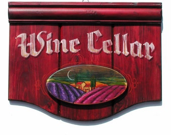 Wine Cellar sign with vineyard picture Vintage style