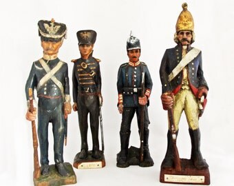 Antique Hand Carved Wooden Soldier Collection / 18th & 19th Century Imperial German Uniforms / The Royal Prussian Army