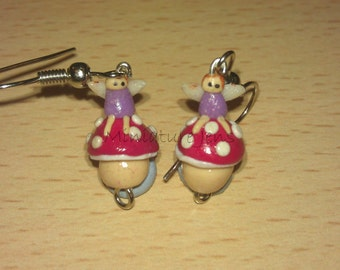 Miniature Purple Fairy on Red Toadstool Polymer Clay Earrings