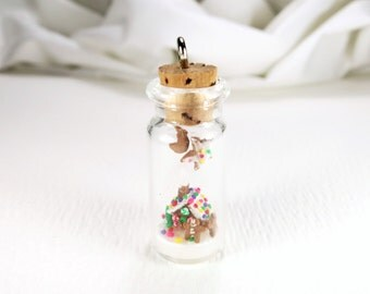 Gingerbread House Charm Ornament Miniature Christmas Gift Clay Gingerbread Gift Bottle Charm Micro Miniature House Gingerbread Decor