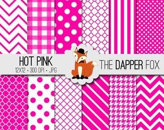 Hot Pink Digital Paper Pack - INSTANT DOWNLOAD - 12x12 - chevron, stripes, dots, quatrefoil