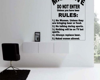 Man Cave Rules Wall Decal