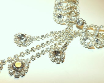 Spectacular vintage rhinestone necklace and earrings demi parure set