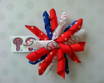 Philadelphia Phillies Korker Hairbow Snapclip