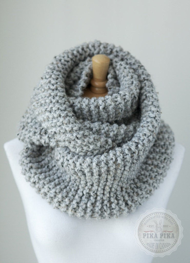 Knitting Chunky Scarves : Gray knit scarf chunky infinity in by
