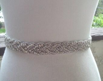 22 Inch Bead ,Free Gift ,Silver Wedding Belt Sash,Bridal Sash,Best seller sash ,Rhinestone Crystal Sash, beaded sash,Silver Sash