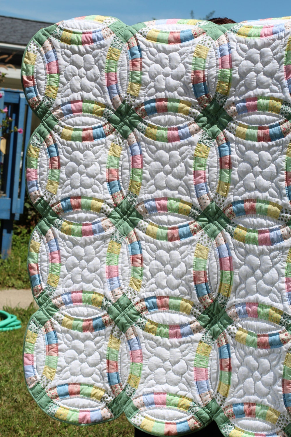 Hand Stitched Double Wedding Ring Quilt