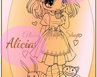 Alice in Wondeland Digital Stamp
