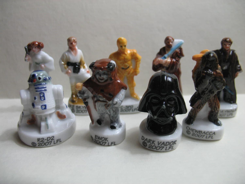 STAR WARS 9 pc Set Miniature French Feve Feves Porcelain