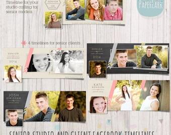 Senior Facebook Timeline Bundle - Photoshop templates -  HG018 - INSTANT DOWNLOAD