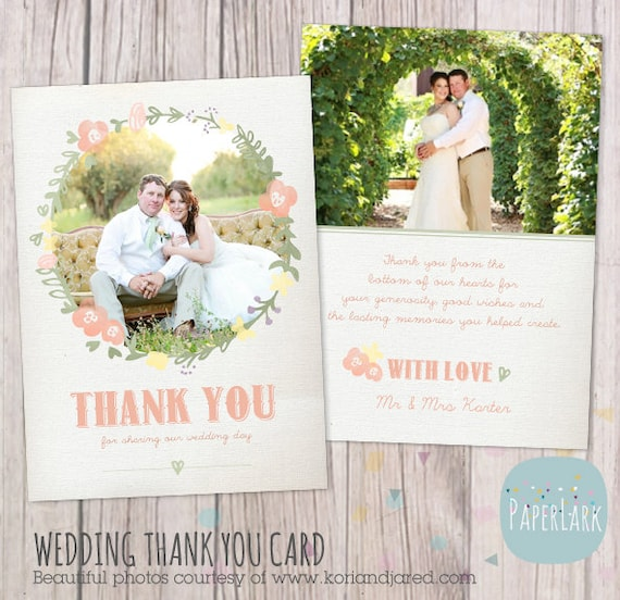 Wedding Thank You Card Photoshop Template By PaperLarkDesigns