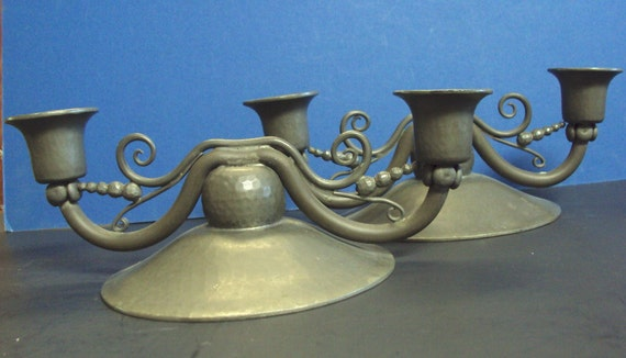 Arts and crafts decopewter candle holders signed sergei for Arts and crafts candle sconces