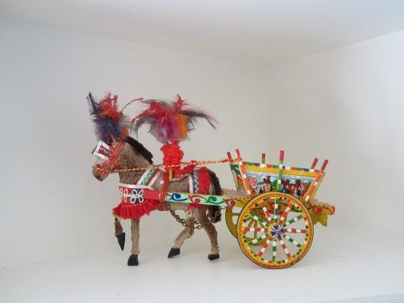 Sicilian Folk Art Italian Souvenir Horse Cart Holiday Decor