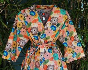 Robe,  Parasol Print, Ankle Length