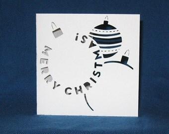 Christmas Ornaments Card, Merry Christmas, Hand Cut Card