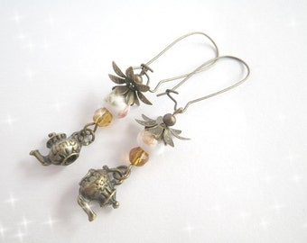 Tea with honey - earrings vintage style
