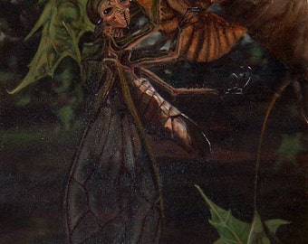 Cicada Girl, oil on canvas, 18x24