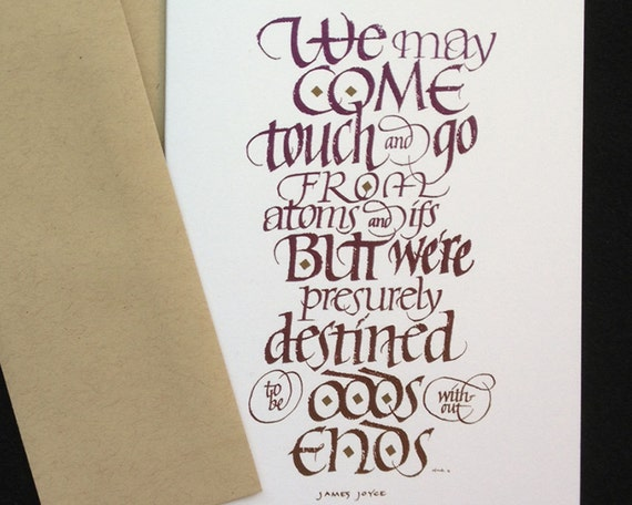 Items similar to james joyce calligraphy greeting card by
