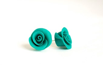 Polymer clay earrings - emerald green roses - colorful stud earrings