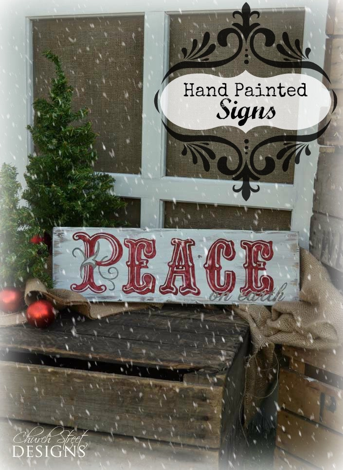 Hand Painted Wooden Sign With Peace On It