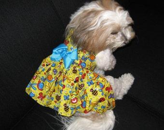 XXS-M  Dog Harness Dress - Little Dog Harness dress - Yellow Dog Dress - Puppy Dress - Tiny Dog Dress - Teacup - Handmade