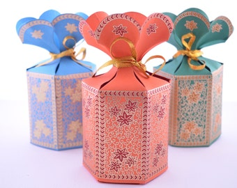 favor gift box with flower top wedding favor box party gift box party ...