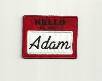 """Personalized, """"Hello My Name Is"""" Tag Patch, Any Color! Custom Made! AP43"""