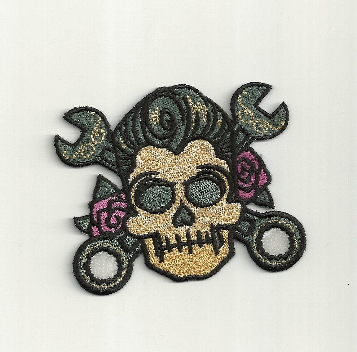 Rockabilly Sugar Skull Patch Custom Made