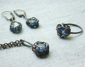 Blue citrine jewelry set - ring, earrings and pendant set