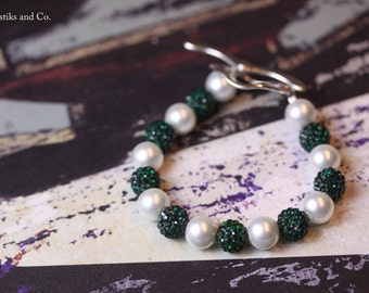 Bracelet Emerald Green and Pearl