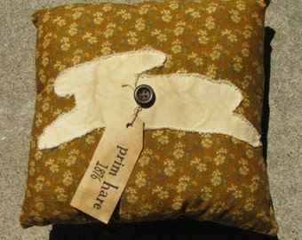Prim Hare Pillow with Tag 3916 Brown Flower