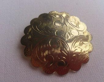 Vintage sterling silver engraved brooch