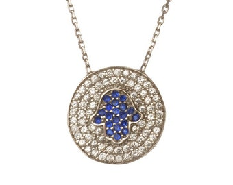 Sterling Silver Hamsa Hand CZ Pendant Necklace