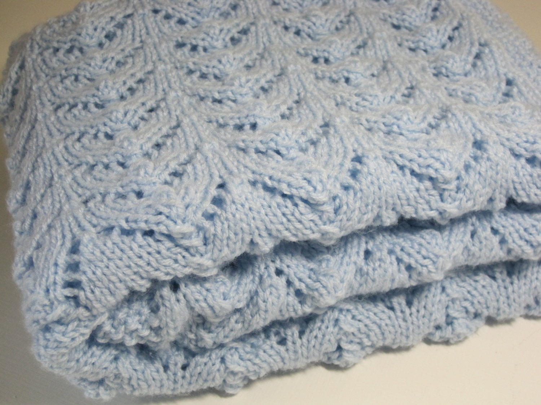 Baby Cot Blanket Knitting Pattern : Newborn Hand Knitted Baby Blanket Baby Boy Vintage